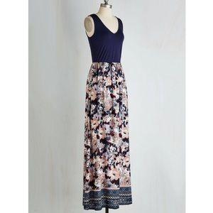 ModCloth Navy Floral Maxi Dress